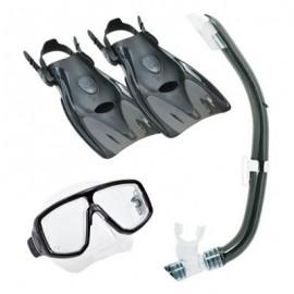 Cestovní set  maska, šnorchl, ploutve TUSA, černá