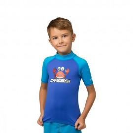 Tričko UV 50+ CRABBY RASH GUARD SHORT JR ROYAL/AQUAMARINE